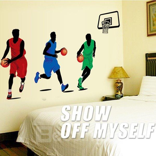 Creative Simple Style Basketball Players Pattern Wall Sticker