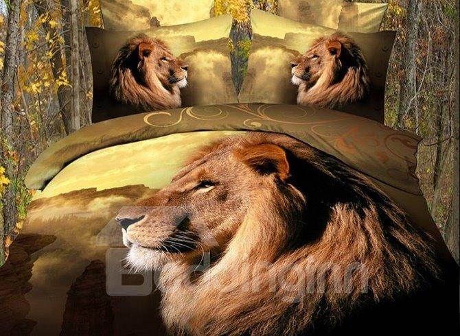 High Class Lifelike Lion Print 4-Piece Polyester Duvet Cover Sets