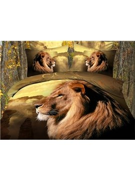 High Class Lifelike Lion Print 4-Piece Polyester Duvet Cover Sets