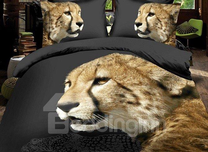 Lifelike Vigorous Leopard Print 4-Piece Polyester Duvet Cover Sets