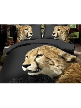 Lifelike Vigorous Leopard Print 4-Piece Polyester Duvet Cover Sets