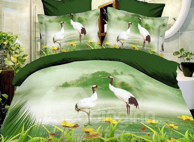 Graceful Red-crowned Cranes Print 4-Piece Polyester Duvet Cover Sets