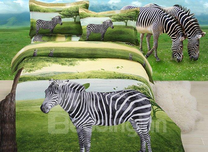 Unique Stylish Zebra on Plain 4-Piece Polyester Duvet Cover Sets
