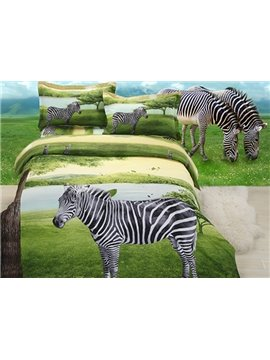 Unique Stylish Zebra on Plain 4-Piece Polyester Duvet Cover Sets