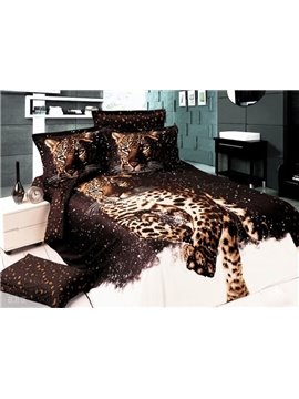 High Quality Vigorous Leopard Print 4-Piece Cotton Duvet Cover Sets