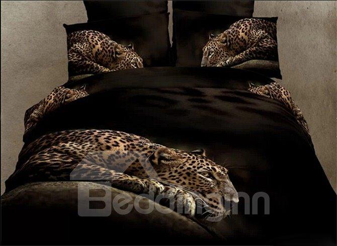 High Class Luxury Leopard Print 4-Piece Pure Cotton Duvet Cover Sets