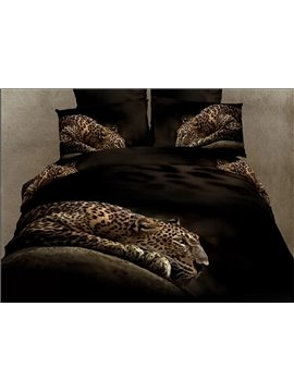 High Class Luxury Leopard Print 4-Piece Pure Cotton Duvet Cover Sets