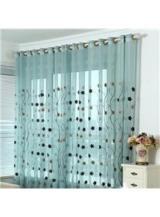 Concise Blue Sun Flowers Pattern Custom Sheer Curtain