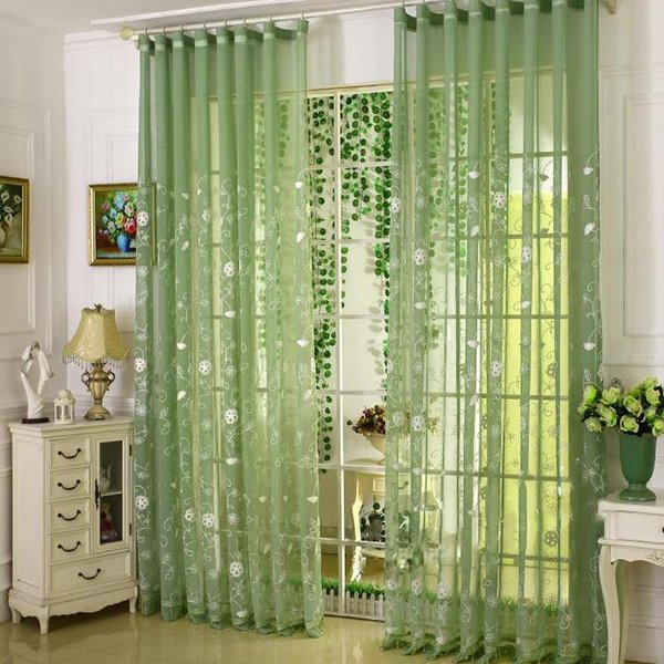 Green Cambric with White Flowers Embroidery Custom Sheer Curtain