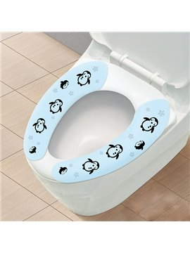 Convenien Waterproof Penguin Pattern Stickup Toilet Seat Cover