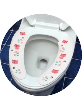 Convenien Electrostatic Adsorption Cats Pattern Stickup Toilet Seat Cover