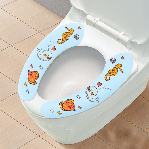 Convenien Quick-Dry Blue Stickup Toilet Seat Cover