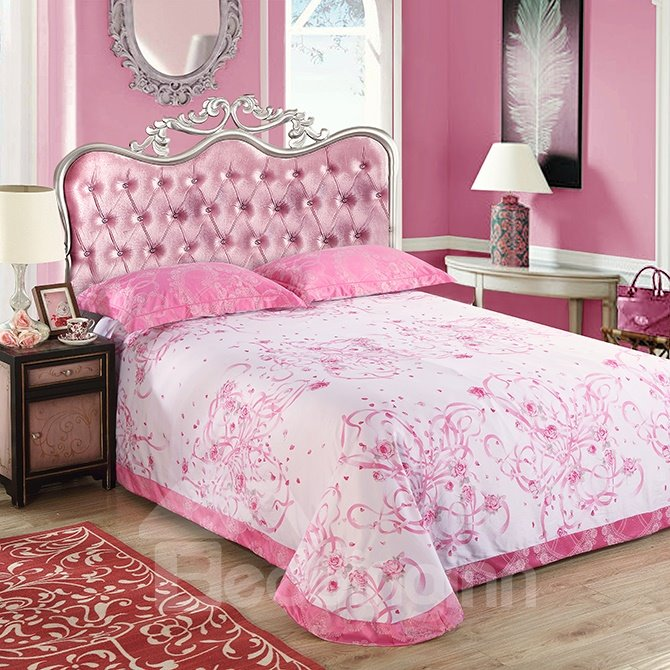 Romantic Heart-shaped Pink Jacquard 4-Piece Bamboo Fabric Bedding Set