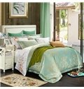 Fresh Floral Pattern Green Jacquard 4-Piece Bamboo Fabric Bedding Set