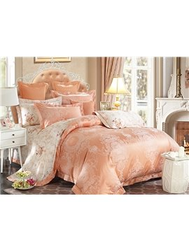 Noble Courtly Style Orange Jacquard 4-Piece Bamboo Fabric Bedding Set