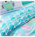 Well-made Charming Flowers Blue 4-Piece Cotton Duvet Cover Sets