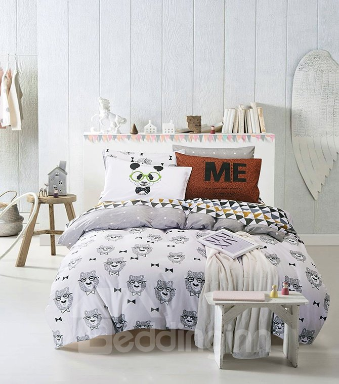 Fabulous Lovely Cartoon Bear Print 4-Piece Cotton Duvet Cover Sets
