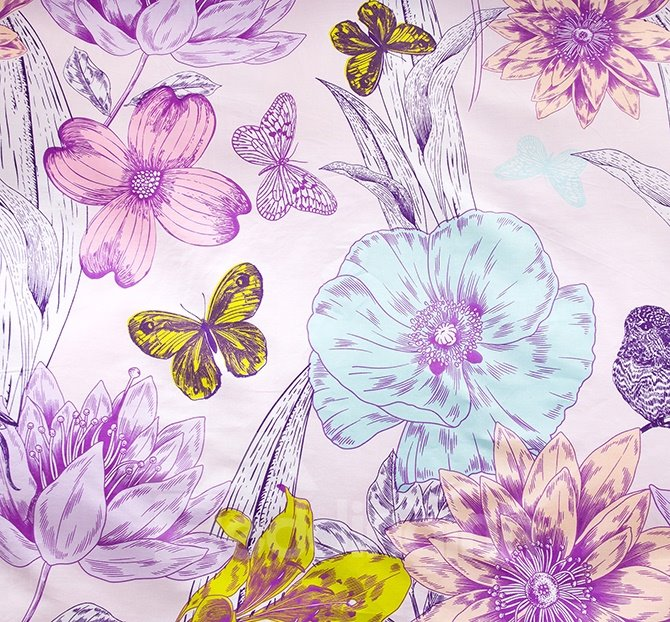 Elegant Butterfly and Flower Print 4-Piece Cotton Duvet Cover Sets