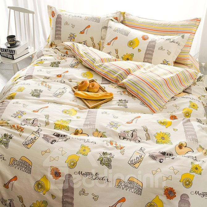 Special Design Stick Figure Cotton 4-Piece Duvet Cover