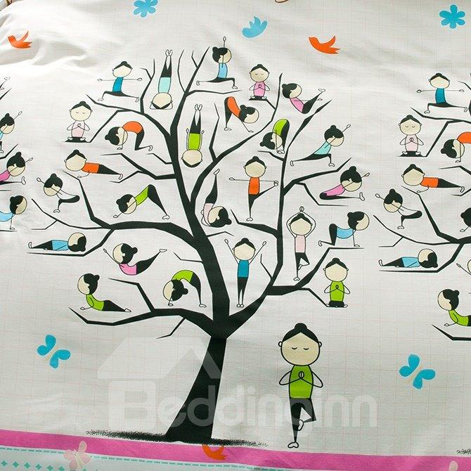 New Design Concise Tree Cotton 4-Piece Duvet Cover