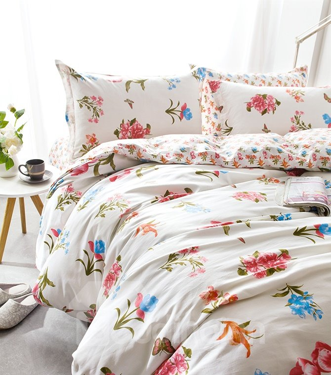 Pastoral Style Beautiful Flowers Print 4-Piece Cotton Duvet Cover Sets