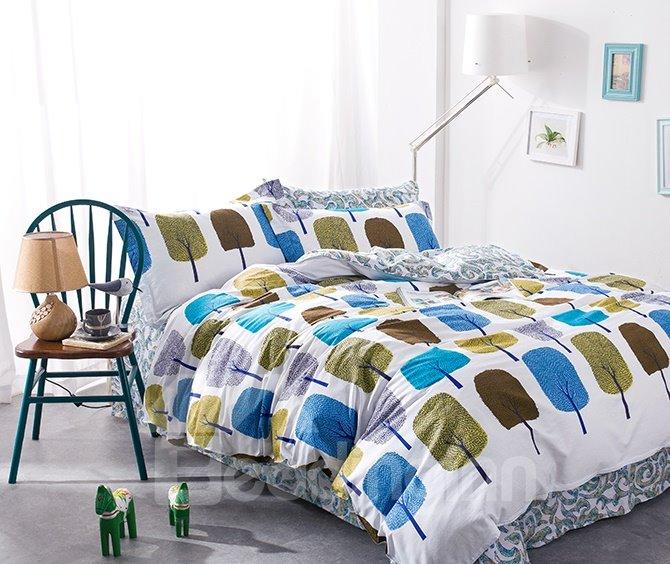 Fashion Colorful Tree Print 4-Piece Cotton Duvet Cover Sets