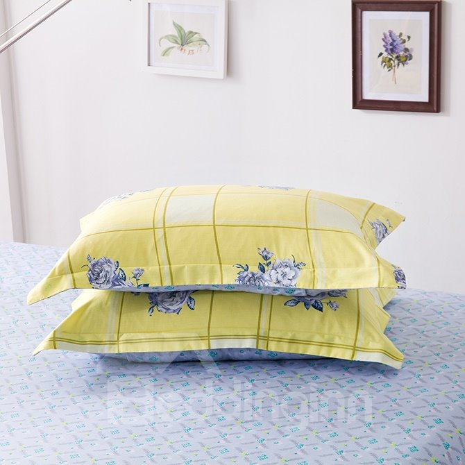 High Class Flowerlet Yellow Cotton 4-Piece Duvet Cover