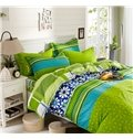 Fresh Style Concise Flowers Green Cotton 4-Piece Duvet Cover