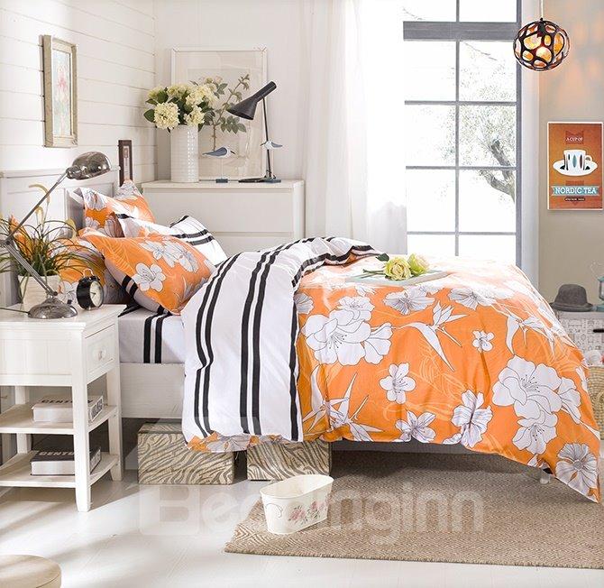 Unique Design White Flowers Yellow Cotton 4-Piece Duvet Cover