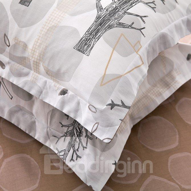 New Arrival Tree Branch Design 100% Cotton 4-Piece Duvet Cover
