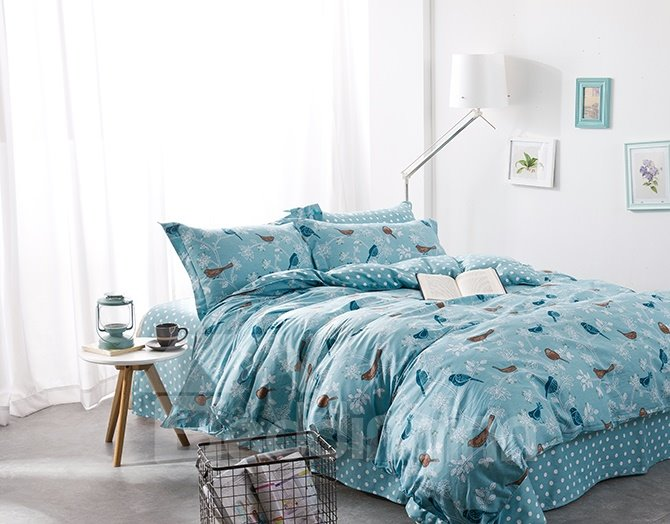 High Class Cartoon Birds Print 4-Piece Pure Cotton Duvet Cover Sets