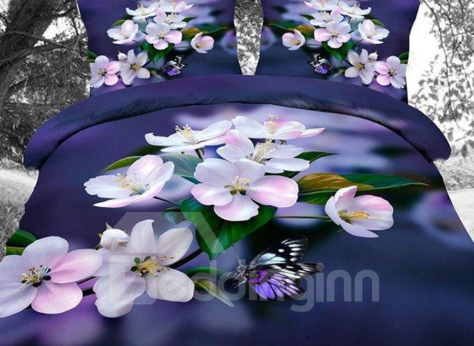 Unique Artistic Peach Blossom 4-Piece Polyester Duvet Cover Sets