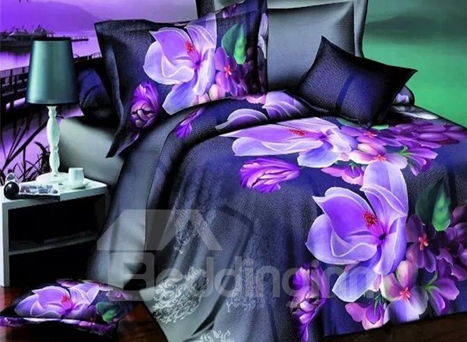 Noble Purple Flower 4-Piece Polyester Duvet Cover Sets