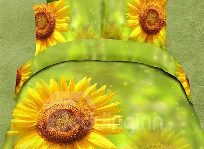 Refreshing Sunflower Green Skin 4-Piece Polyester Duvet Cover Sets