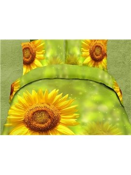 Refreshing Sunflower Green Skin 4-Piece Polyester Duvet Cover Sets