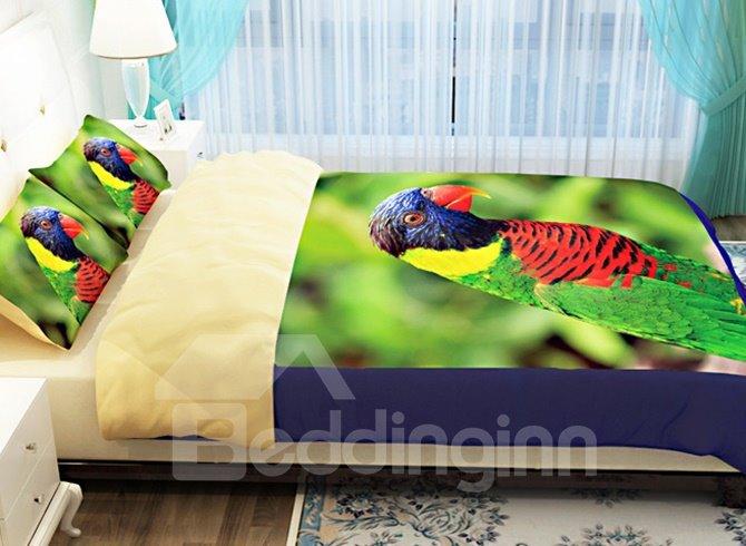 Colorful Parrot Design 100% Cotton 4-Piece Duvet Cover