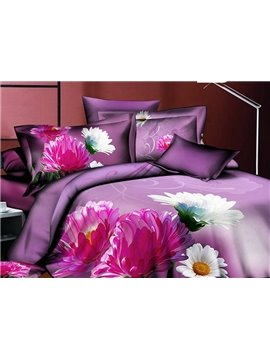 Fabulous Purple and White Daisies 4-Piece Polyester Duvet Cover Sets