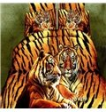 Lifelike 3D Crouching Tiger 4-Piece Polyester Duvet Cover Sets
