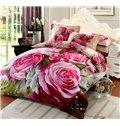 Charming Peonies Print Cotton 4-Piece Duvet Cover Sets