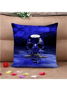 Dark Purple Skull and Bullet Scary Throw Pillow Case