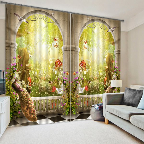 Symmetrical Peacock and Magic Garden Print 3D Blackout Curtain