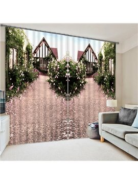 Symmetrical Cabin and Bush Print 3D Blackout Curtain