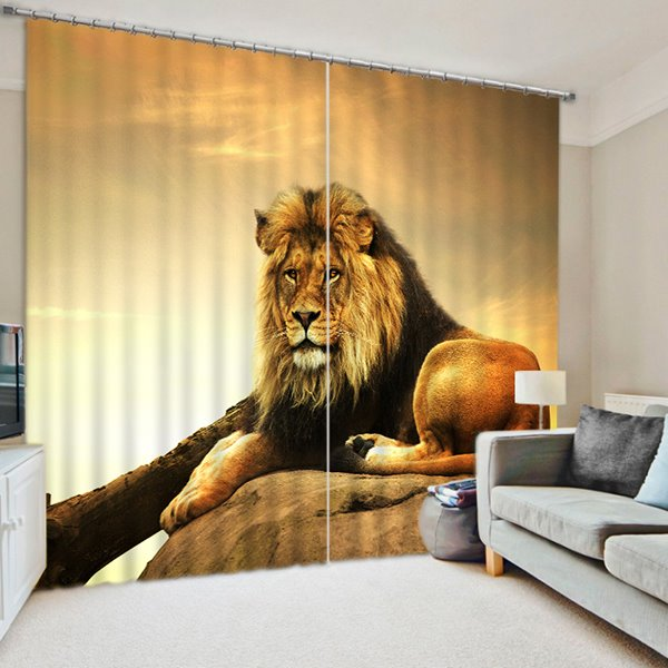 Fierce Lion King looking at the Distance Print 3D Blackout Curtain