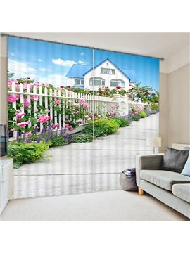 A Small Path with Flowers Print 3D Blackout Curtain