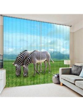 Couple Zebras Eating Grasses Print 3D Blackout Curtain