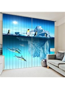 Amazing Iceberg and Penguins in South Pole Print 3D Blackout Curtain