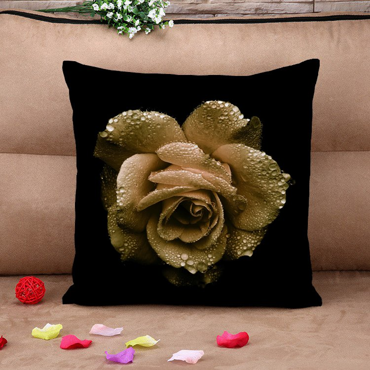 Elegant Big Golden Rose with Dew Black Cotton Throw Pillow Case