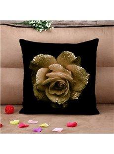 Elegant Big Golden Rose with Dew Black Cotton Throw Pillow Case