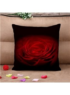 Romantic Red Big Rose Black Cotton Throw Pillow Case