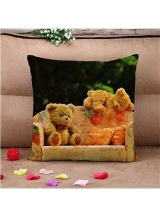 Sweet Teddy Bears Warm Cotton Throw Pillow Case